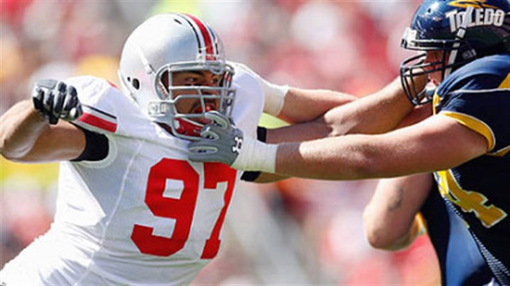 Cameron Heyward Ohio State defensive lineman Cameron Heyward is projected to be a first-round pick in next year's NFL draft.