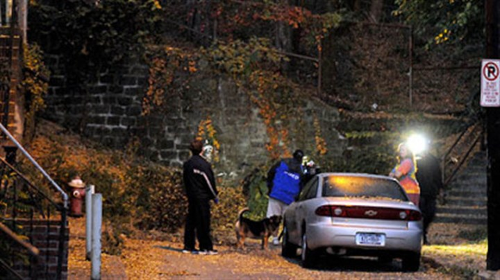 Car crash The stone wall at the dead end of Lowrie Street in Troy Hill where a stolen car crashed early this morning.