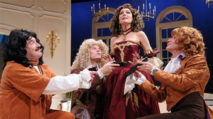 "Cast of School for Lies From left, Martin Giles, Ben Blazer, Nike Doukas and James FitzGerald in ""The School for Lies,"" a Pittsburgh Irish & Classical Theatre production featuring Alexander McQueen-inspired costumes."