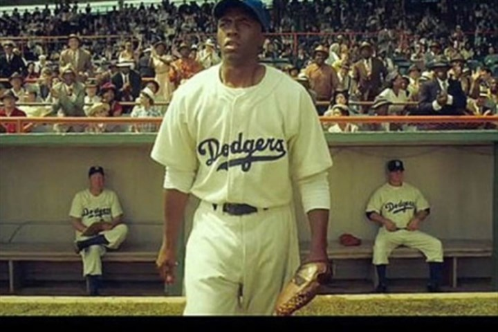 "Chadwick Boseman as Jackie Robinson in ""42,"" Chadwick Boseman as Jackie Robinson in ""42,"" set for release this week."