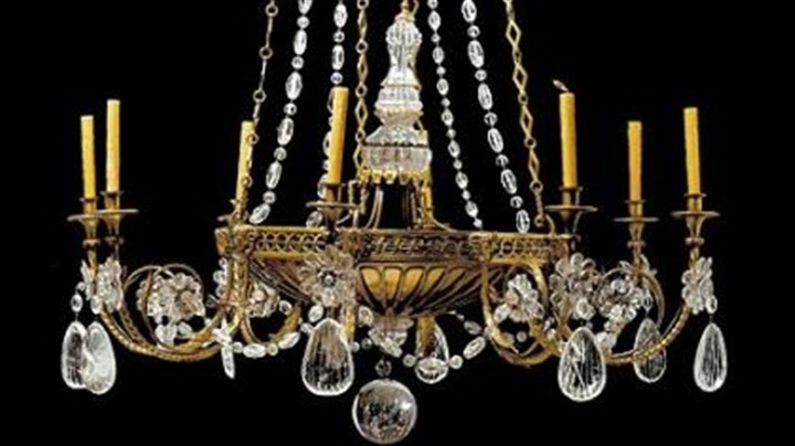 Chandelier This French Empire-style rock crystal cut-glass and gilt metal chandelier, from the Parisian decorator Bagues Freres, is among the items on auction.