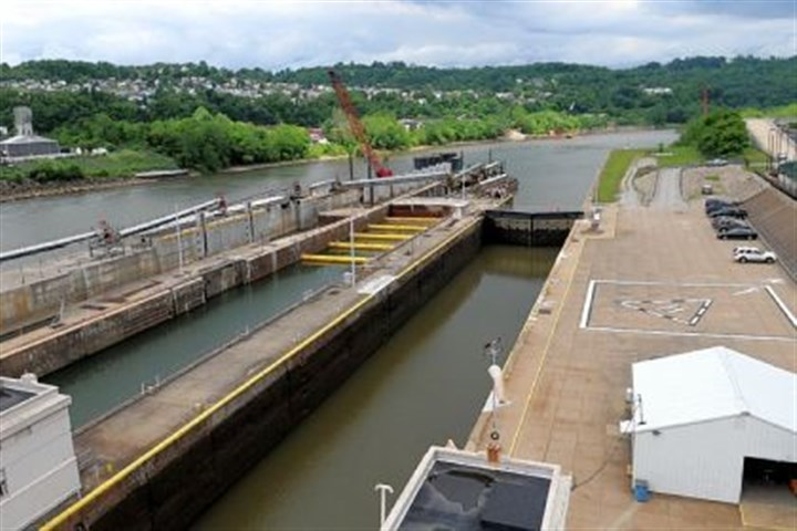 Charleroi Lock and Dam No. 4. The downstream side of the Charleroi Lock and Dam No. 4. River industry officials are confident Congress will approve legislation this year that would boost funding for much-needed repairs to decaying locks and dams on the Monongahela River.