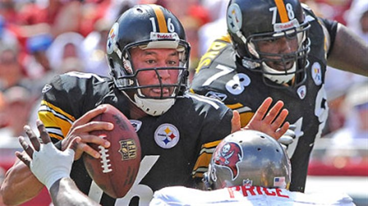Charlie Batch Charlie Batch breaks away from the grasp of the Buccaneers' Brian Price at Raymond James Stadium Sunday with Max Starks (78) protecting his left side.