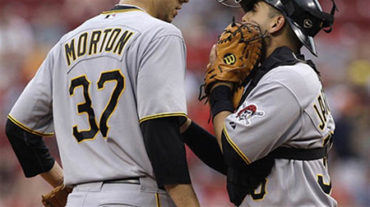 Charlie Morton and Jason Jaramillo Pirates starting pitcher Charlie Morton talks with catcher Jason Jaramillo in the first inning.