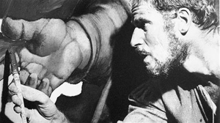 "Charlton Heston as Michelangelo Michelangelo, played by Charlton Heston, is shown at work in a scene from the movie ""The Agony and the Ecstasy""."