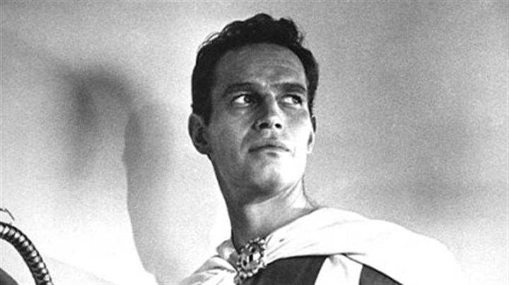 Charlton Heston in costume as Ben Hur Charlton Heston poses in character as Ben-Hur on April 29, 1958, at Cinecitta studios in Rome, Italy.