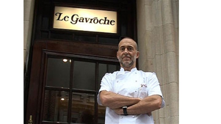 "Chef Michael Roux ""We are hoping for the best and expecting the worst, as chefs are pretty pessimistic. But I am overjoyed that the Olympics are coming to London,"" says chef Michel Roux, outside Le Gavroche in London."