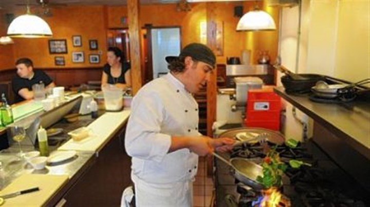 Chef Nick Karas of Nap's Cucina Mia Chef Nick Karas cooks a pasta dish at Nap's Cucina Mia, a restaurant in Indiana, Pa., that his grandparents founded as Nap Patti's bar in 1949.