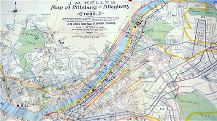 City map H-less Pittsburg on a city map from 1895.