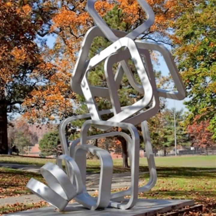 "'Cityscape' Aaronel deRoy Gruber's ""Steel Cityscape"" sculpture now installed in Mellon Park."
