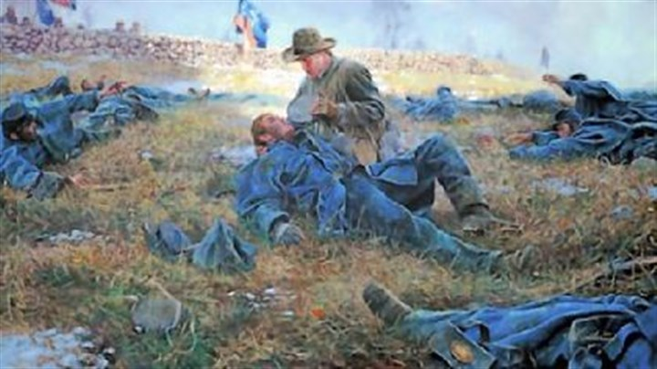 "Civil War angel of mercy movie Sergeant Richard Rowland Kirkland giving water to the wounded after the battle of Fredericksburg, as depicted by Mort Kunstler in his painting ""The Angel of Marye's Heights."""