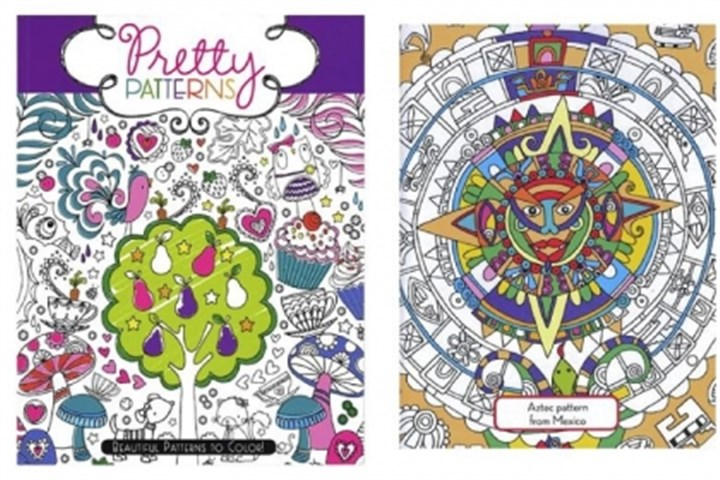 "Coloring books Two new, sophisticated coloring books, ""Pretty Patterns"" (left) and ""Pretty Costumes"" (right, inside page) by Hannah Davies, give kids of any age multiple opportunities to put their creative skills on display."