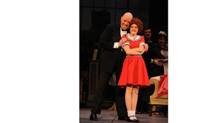 "Conrad John Schuck and Johanna Loughran Conrad John Schuck as Oliver ""Daddy"" Warbucks and Johanna Loughran as Annie in Pittsburgh CLO's ""Annie."""