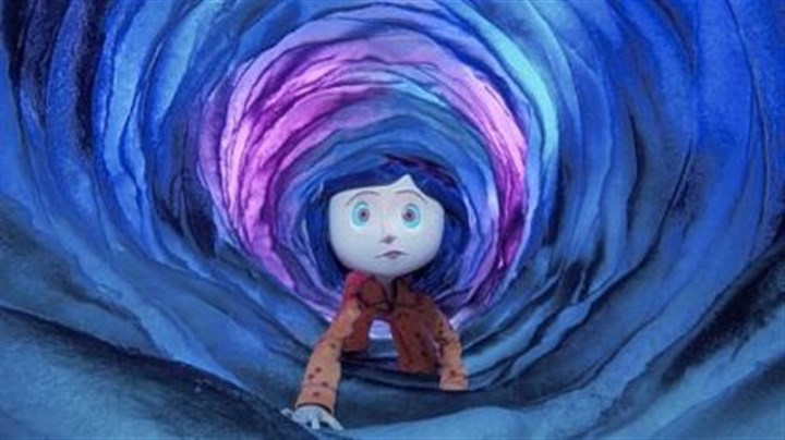 "Coraline Coraline (voiced by Dakota Fanning) travels through a portal between worlds in the 3-D animated ""Coraline."""