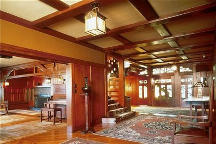 Custom woodwork, furnishings and art glass Custom woodwork, furnishings and art glass designed by architects Greene & Greene define the Gamble House.
