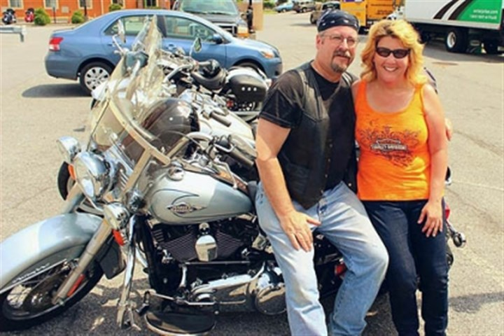 Cycle 1 Dan and Mary Bates in Johnstown with the Wings of Eagles motorcycle ministry for the Thunder in the Valley motorcycle rally.