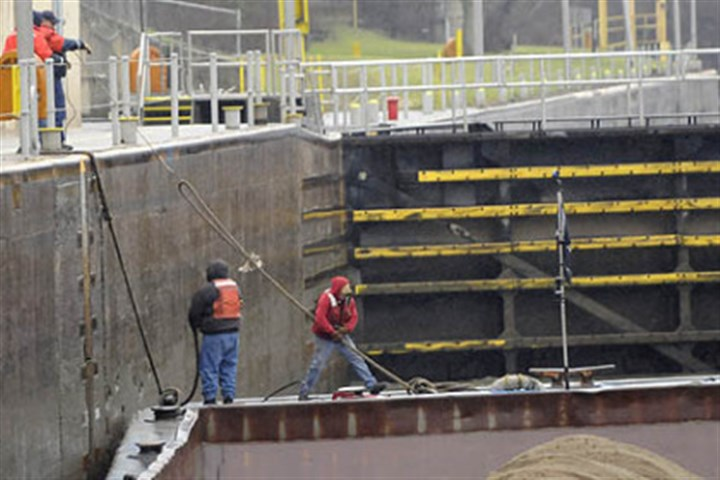 Deckhands new Deckhands fasten their barges inside Lock 4 at Charleroi on the Monongahela River. The Army Corps of Engineers has expressed worry over the government shutdown's effect on local river infrastructure.