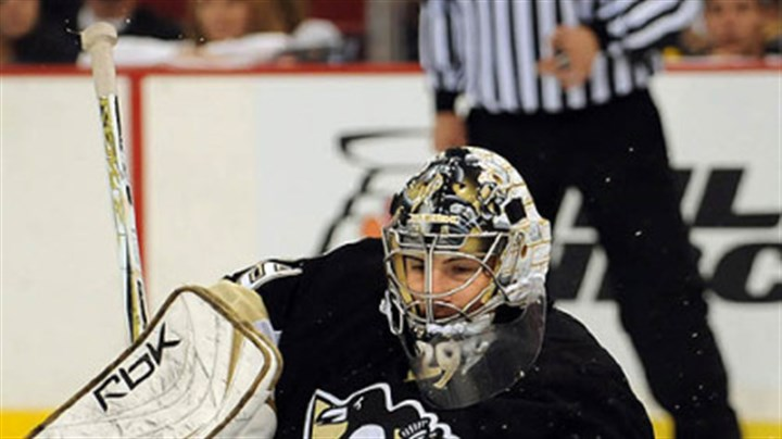 Denied Penguins Marc-Andre Fleury makes save against the Flyers in the second period.