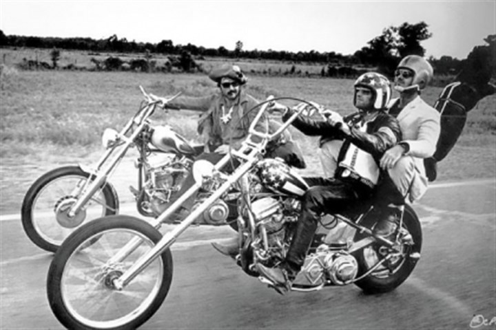 "Dennis Hopper, left, Peter Fonda and Jack Nicholson Dennis Hopper, left, Peter Fonda and Jack Nicholson in 1969's ""Easy Rider."""