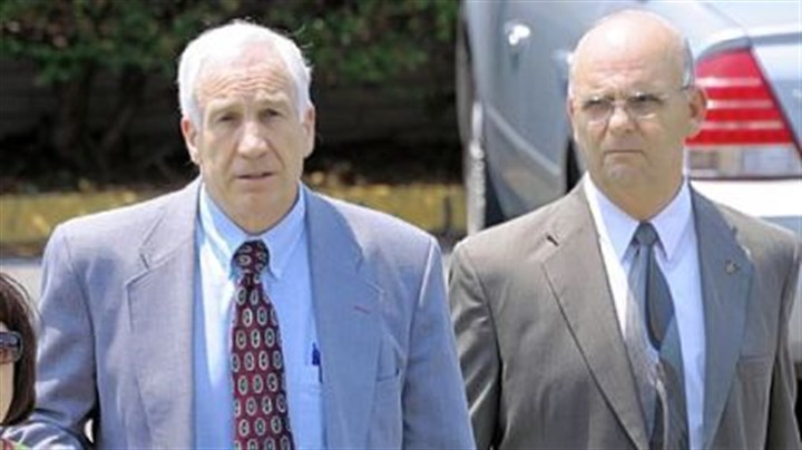 Departing Jerry Sandusky leaves the Centre County Courthouse after the jury began deliberating his case Thursday afternoon.