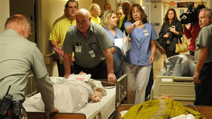 Disaster drill at the Jefferson Regional Medical Center Patient Care Manager Doreen Steiner directing a disaster drill at the Jefferson Regional Medical Center.