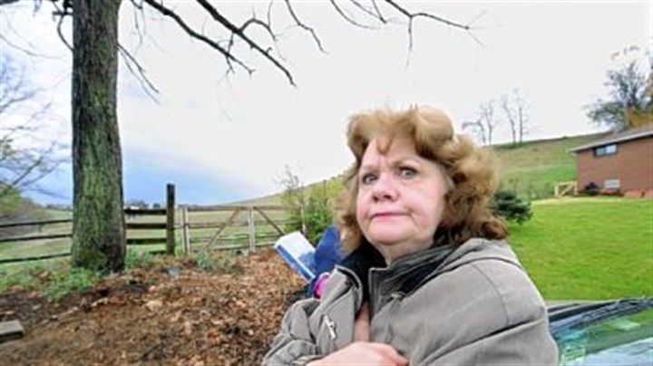 Do not enter Caryn Falcone, who has lived on Pesavento Drive in Bridgeville for 40 years, opposes the opening of Main Street at its dead-end, shown behind her, to create an access road for the planned Bedner Farms housing development in neighboring Upper St. Clair.