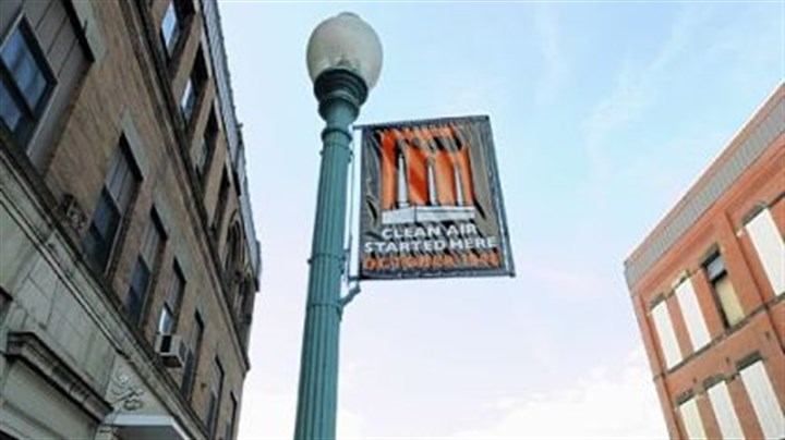 Donora now Flying above McKean Avenue, a banner commemorating the 1948 inversion.
