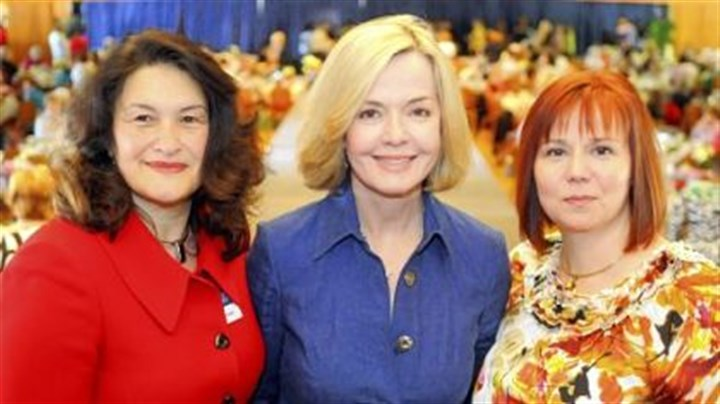 Duquesne University Women's Guild luncheon and fashion show From left, Mary McIntyre, Sally Wiggin and Robin Connors.