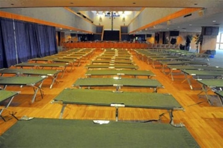duquesne1 Cots are set up for students in the ballroom of the Duquesne Union.
