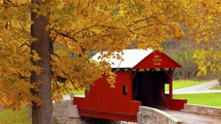 Ebenezer Covered Bridge Ebenezer Covered Bridge in Mingo Creek County Park, Washington County, in fall, 2002.