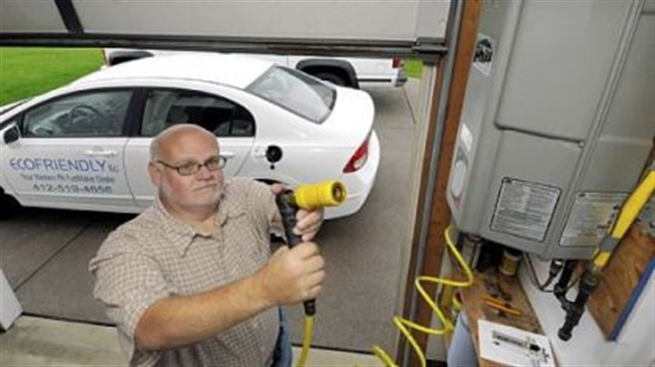 EcoFriendly LLC Paul Gianakas' EcoFriendly LLC installs natural gas fueling stations at homes and businesses. He has a fueling station in his own garage, which compresses natural gas from his home's service line to fuel his Honda Civic.