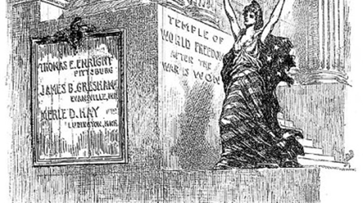 "Editorial cartoon An editorial cartoon from The Pittsburg Press shows Lady Liberty at steps labeled ""Temple of World Freedom / After the War Is Won,"" with a plaque for Enright, Greshem and Hay."