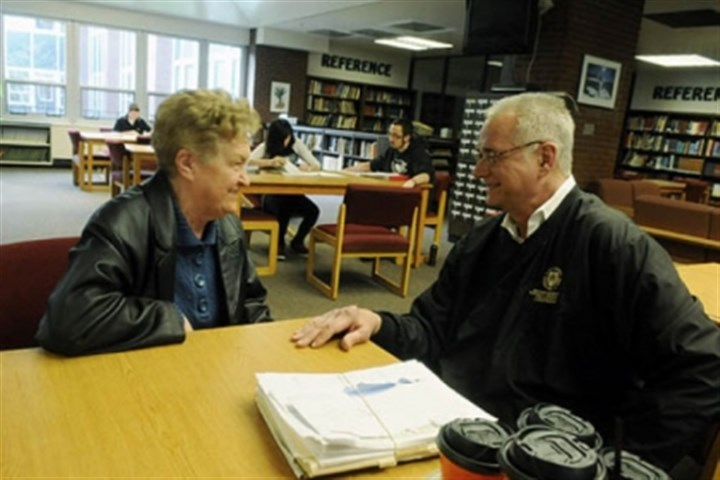 eileen2 Eileen Shields,72, of Castle Shannon, talks with Joel Vanucci, the director for Project Succeed, an alternative and diploma retrieval program that has operated at Keystone Oaks High School for 25 years.