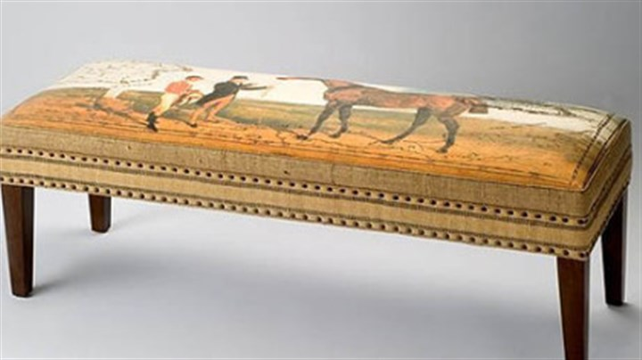 Elizabeth Lucas Co. art decorated furniture The Elizabeth Lucas Company specializes in art decorated furniture. This is its Thoroughbred Bench. The company also has pillows and totes that depict the riding life.