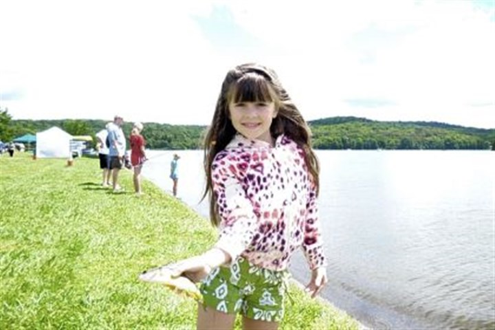 Emilia Boleng Emilia Boleng, 6, of Fox Chapel was among many kids who caught their first fish ever at the Post-Gazette Family Fishing Tent during the Aug. 3-4 Regatta at Lake Arthur at Moraine State Park.