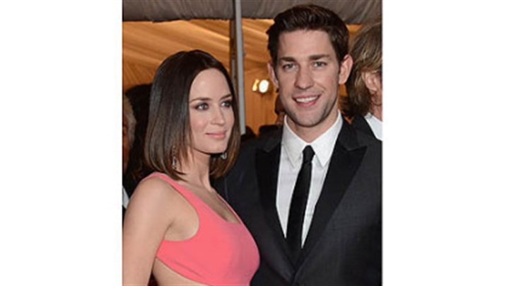 Emily Blunt and John Krasinski Emily Blunt and John Krasinski, shown at a New York gala last month, enjoyed a Strip District loft and stops at Bar Marco while he was filming here.