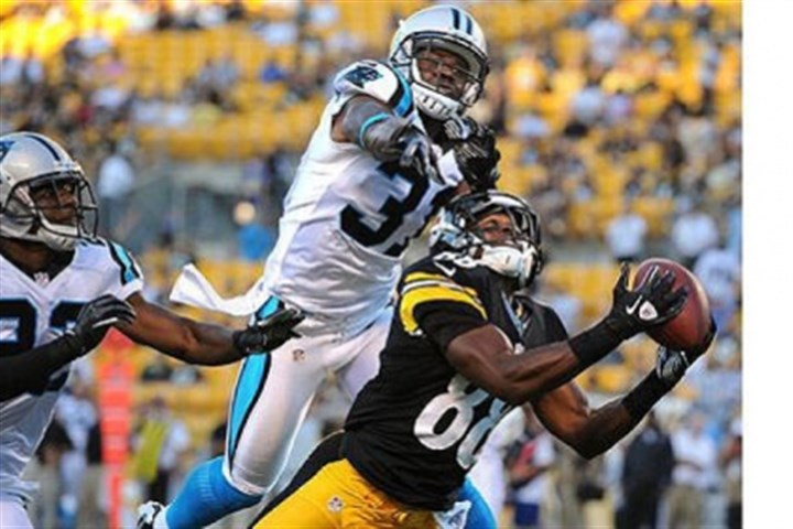 Emmanuel Sanders' catch Emmanuel Sanders, shown catching a pass last year against Carolina. Unless the Steelers sign Sanders to a long-term contract, he will become an unrestricted free agent next March.