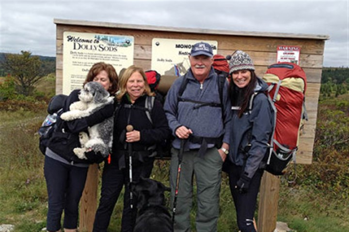 Enjoying Dolly Sods From left: Judy with Molly, Priscilla with Ned, Reg and Lisa.