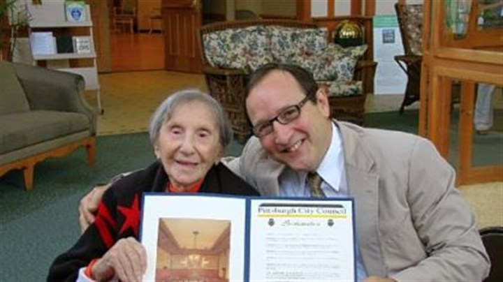 Evelyn Kozak Day Pittsburgh City Council President Doug Shields, right, proclaimed Aug. 5 as Evelyn Kozak Day, in honor of her 110th birthday.