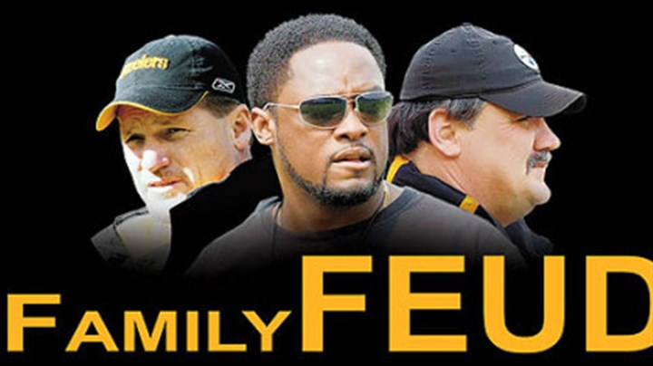 Family Feud From left: Ken Whisenhunt, Mike Tomlin, Russ Grimm.