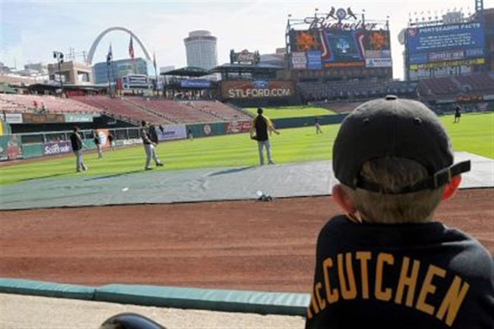 farabaugh Lucas Farabaugh, 5, of Ottawa, Ill., watches as the Pirates warm up Friday before Game 2 of the National League Division Series against the Cardinals at Busch Stadium in St. Louis.
