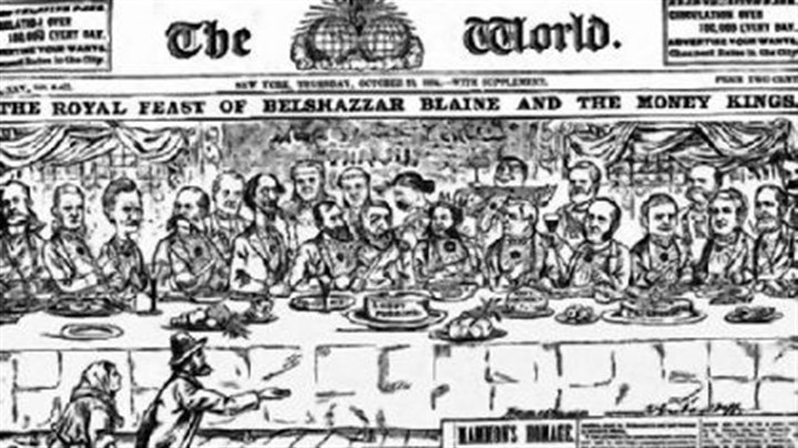 feast Walt McDougall's illustration of Republican presidential candidate James G. Blaine 'feasting' with moguls just before the 1884 election probably cost Blaine the White House.