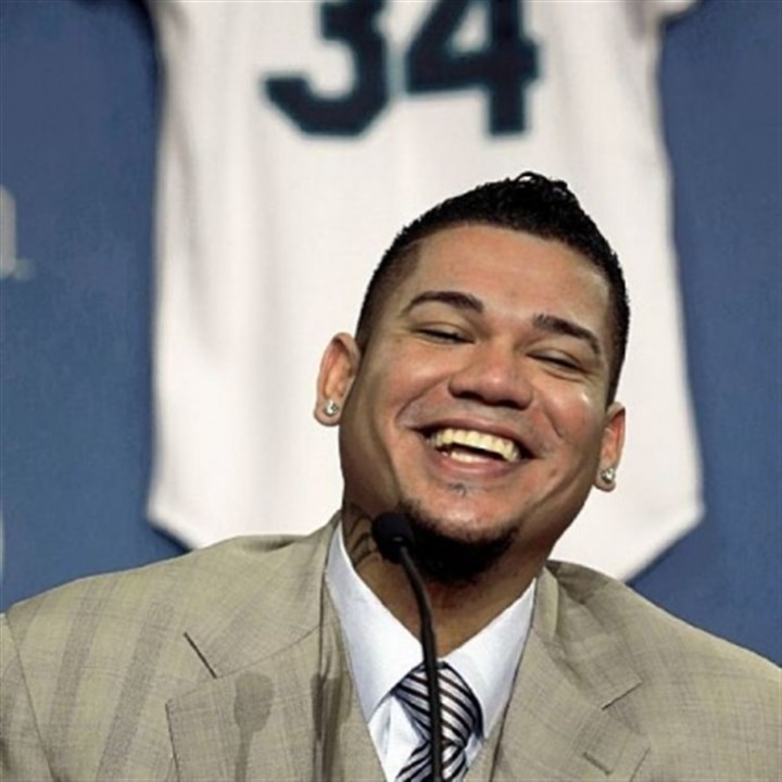 FelixHernandez Why is this man smiling? Well, Felix Hernandez has 175 million reasons after signing a new contract with the Mariners.