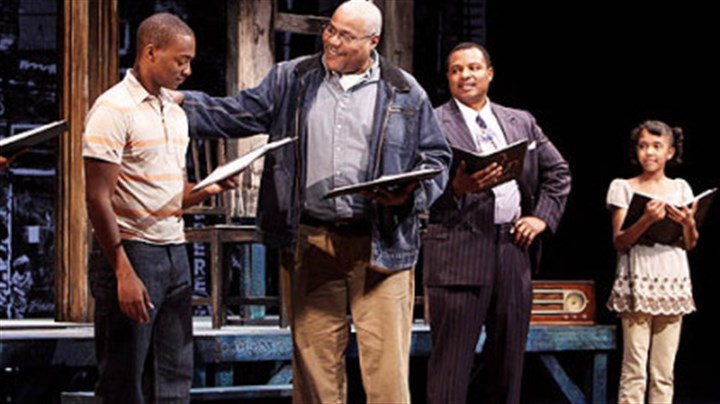 'Fences ' Anthony Mackie as Cory, Bill Nunn as Jim Bono, Montae Russell as Lyons, Autumn Malhotra as Raynell in 'Fences'