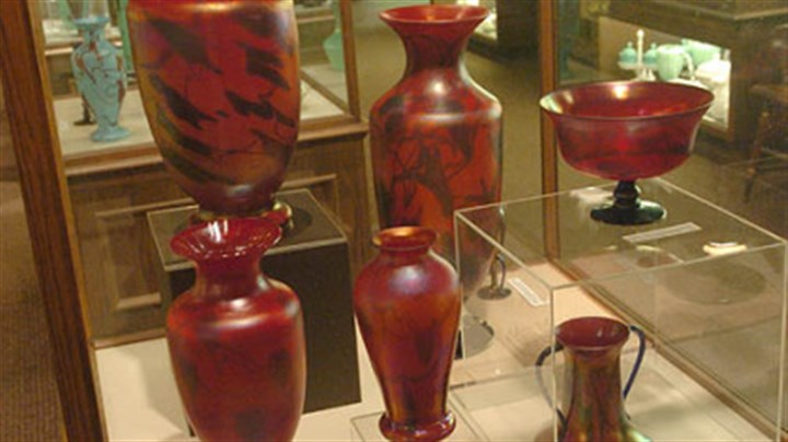 Fenton glass museum These early 20th century glass pieces are on display in the Fenton museum.