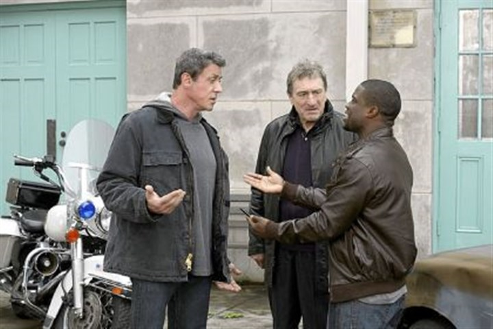 "Film notes Sylvester Stallone, left, Robert De Niro and Kevin Hart star in the comedy ""Grudge Match,"" which is set in Pittsburgh but filmed in New Orleans. The movie is to open on Christmas."