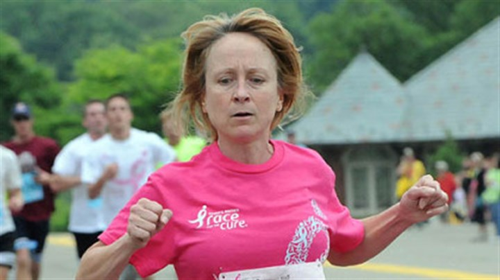 First survivor finisher Ginny Ellwood was the first survivor finisher in the 5K race at the 20th annual Susan G. Komen Race for the Cure in Schenley Park. Her time was 22:39.