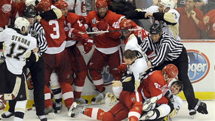 Fisticuffs Fisticuffs broke out all around as the third period of Game 2 wound down last night at Joe Louis Arena in Detroit.