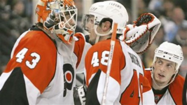 Flyers players The Flyers' Martin Biron and Danny Briere (48) need to regain their swagger if they hope to beat the Penguins tonight.
