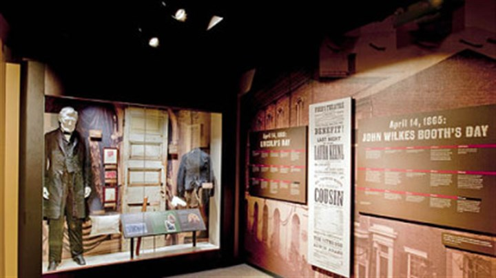 Ford's Theatre Museum Exhibits showcasing the suit Lincoln wore the night of his assassination, the door leading to the famed theatre box and other relics from Ford's Theatre.